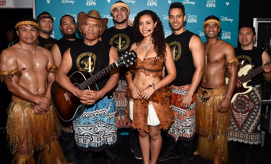 "ANAHEIM, CA - AUGUST 14:  Singer/songwriter Opetaia Foa'i and music group Te Vaka of MOANA took part today in ""Pixar and Walt Disney Animation Studios: The Upcoming Films"" presentation at Disney's D23 EXPO 2015 in Anaheim, Calif.  (Photo by Alberto E. Rodriguez/Getty Images for Disney) *** Local Caption *** Opetaia Foa'i"